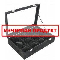 Кутия за бижута и часовници с възглавнички черна