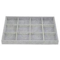 Табла за бижута 12 квадрата сив плюш