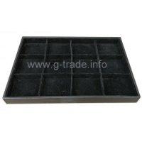 Табла за бижута 12 квадрата черен велур