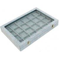 Кутия за бижута 24 квадрата с капак сива
