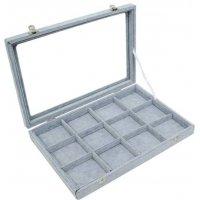 Кутия за бижута 12 квадрата с капак сива