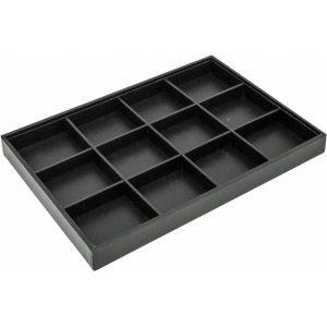 Табла за бижута 12 квадрата черна еко кожа